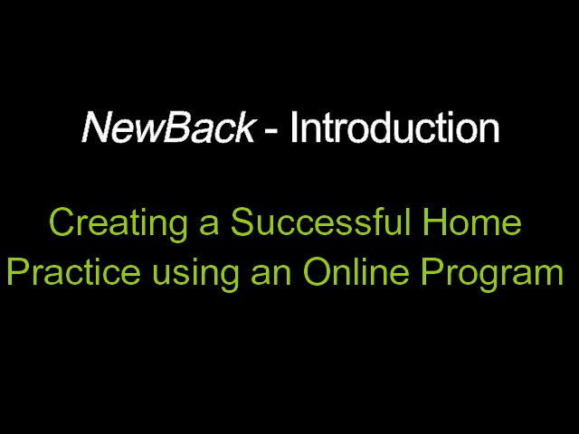 Video 3-8  Creating a Successful Home Practice using an Online Program